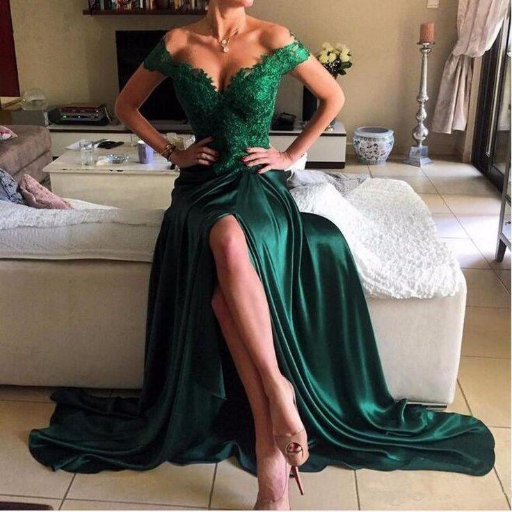 Off Shoulder Green Lace Evening Prom Dresses, 2017 Long Slit Prom Dress, Custom Long Prom Dresses, Cheap Formal Prom Dresses, 17064
