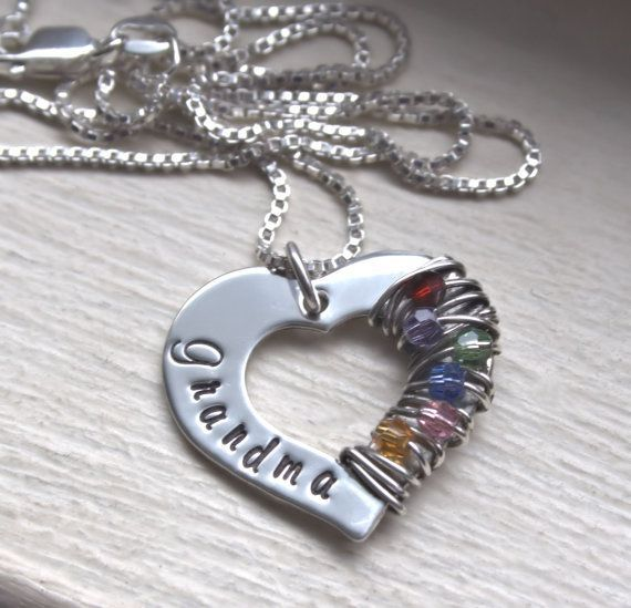 Hand Stamped Necklace Sterling Silver with Birthstones, Wrapped In Love Mothers Necklace Grandmothers Necklace Mothers Day Gift MY MIL wants a ring but this is pretty cute to!