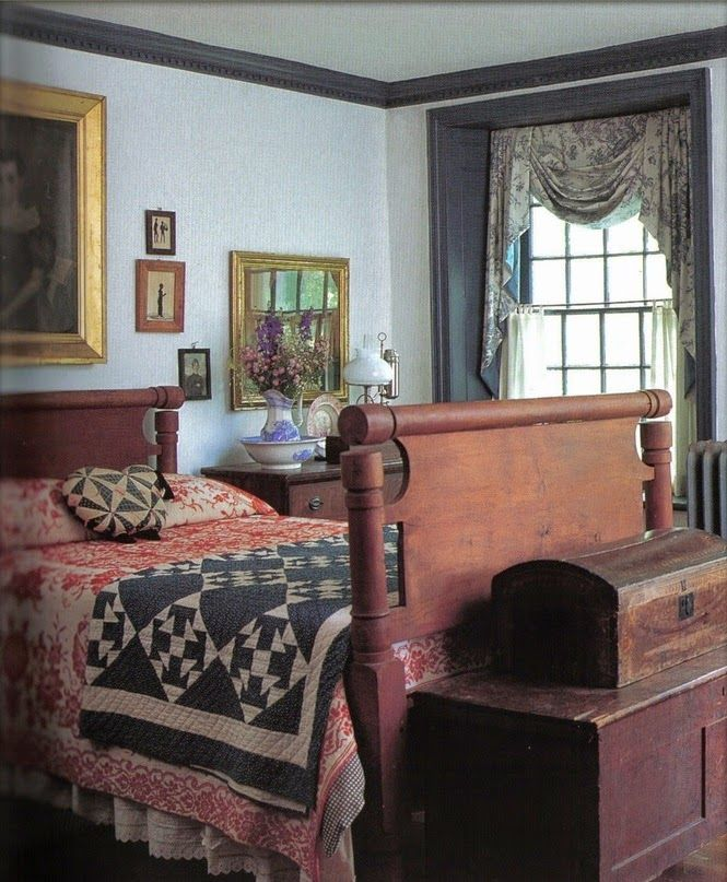 157 best colonial primitive interiors images on pinterest for Colonial bedroom decor
