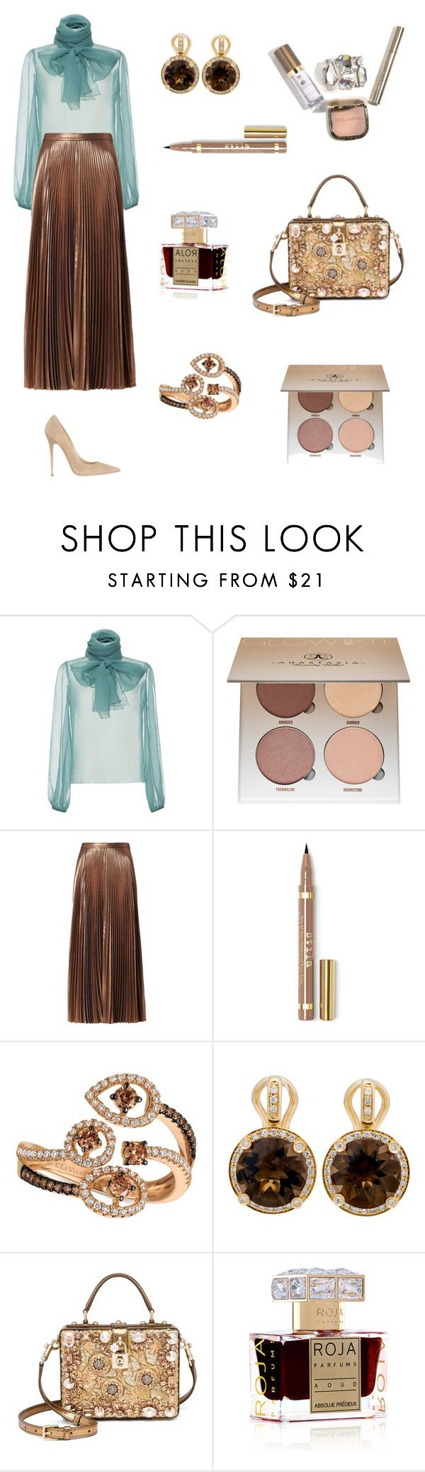 """Untitled #40"" by parvinn8 ❤ liked on Polyvore featuring Rochas, Anastasia Beverly Hills, A.L.C., LE VIAN, Poiray Paris, Dolce&Gabbana, Roja Parfums and Jimmy Choo"