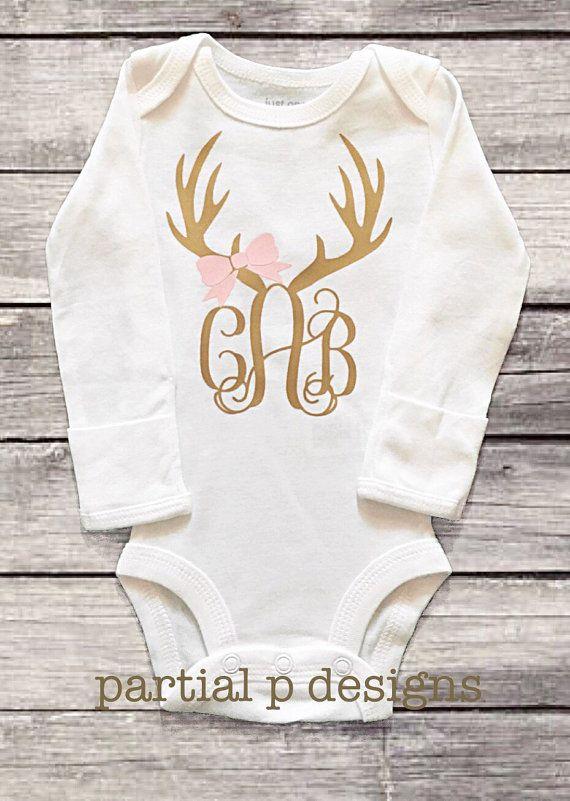 Monogram Deer Antler onesie  bodysuit, hunting, hunting buddy, baby girl, personalized, gold and pink