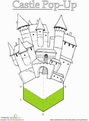 First Grade Paper Projects Fairy Tales Worksheets: Paper Castle Worksheet