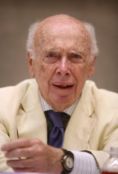 File photo of James Watson speaking at the Baylor College of Medicine's Human Genome Sequencing Center in Houston