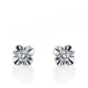 Diamond Stud Earrings on 10K White Gold