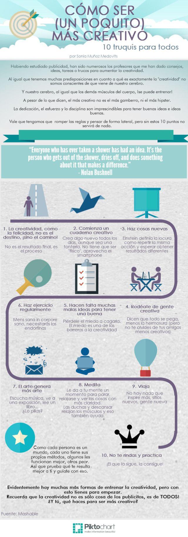 #Infografia ¿Cómo ser un poco más creativo?  #Creatividad