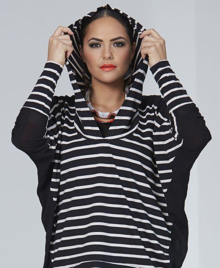Chocolat 72457 - Strip Mix Sweatshirt, 72454 - Lisani Wool Panel Dress, 72371BM - Wool Gauze Top,  72460BM - Leather Panel Pant