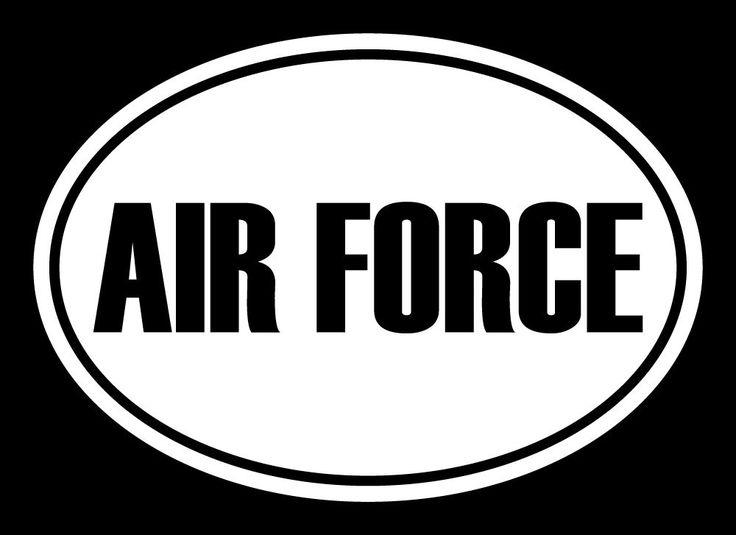 "AIR FORCE Euro Oval Decal Military Sticker, Cut Vinyl Decal - 5""L X 3.5""H"