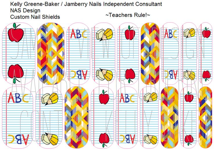 Teacher appreciation inspired Jamberry NAS nail shields. Get the Look without the polish! Send me your color request and I'll customize the color for you! Contact me @ Kelly Loves Jam on Facebook or email me bluegodiva@yahoo.com if interested in designing/ordering a custom nail art studio sheet of your own . Curious about Jamberry's 350+ ready-to-go catalog designs? Head to www.kellybaker.jamberrynails.net ~ DIY nail art elementary school apples school supplies educators