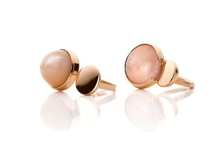 Ringen, roze goud 18kt., roze maansteen en roze kwarts cabuchons, collectie intersection 2016
