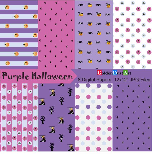 Purple Halloween Digital Papers by GoldenDustArt on Etsy