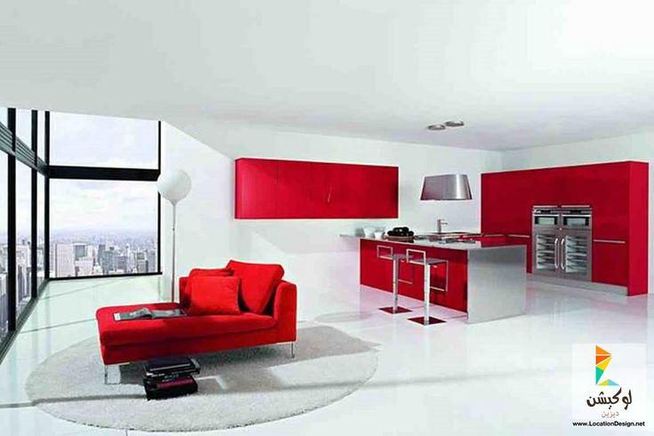 مطابخ باللون الاحمر - 50 تصميم مودون لإختيار ديكور مطبخك الخاص - لوكشين ديزين . نت