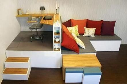 Compact room: 4 m² . In this design, it means a book self, double bed, sofa, dinner table, four stools, desk, wardrobe and a bunch of storage!!!