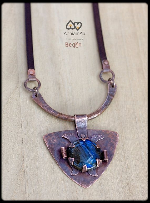 Hand forged copper necklace with labradorite: by AnniamAeDesigns