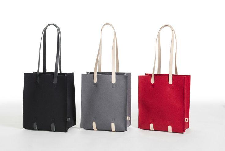 Jonas Hakaniemi for Lahtiset, JHFL 04, http://www.lahtiset.fi/fi/jhfl/jonas-hakaniemi-for-lahtiset.html #jonashakaniemi #lahtiset #felt #leather #bag #black #grey #red