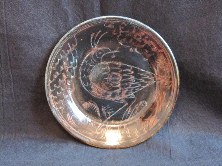 Sgraffitto bird plate, ash glaze tenmoku