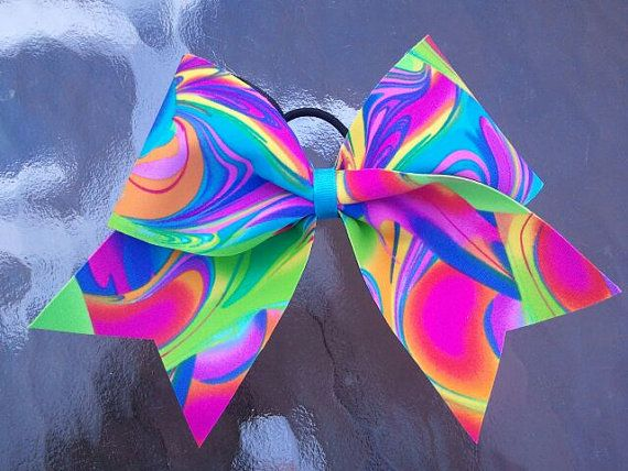 2 1/4 Tie Dye Neon Cheer Bow by Bowtique24 on Etsy, $7.00