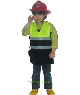 Hes voor de politie- of brandweerman van dikke zwarte katoen met synthetische fluorescerende gele stof. Echte reflecterende grijze strepen. Ze lopen tegenwoordig in dezelfde reflecterende pakken. Lengte is 50 cm. Exclusief helm/pet. De boerenpet (zie rech