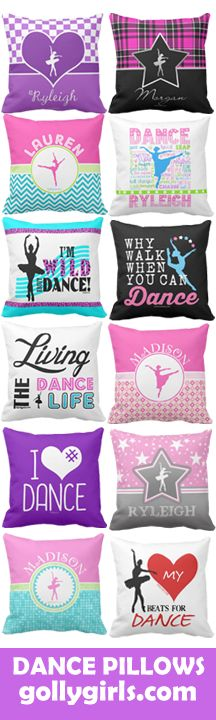 Adorable dance themed throw pillows for your favorite dancer - many can be personalized with your name!