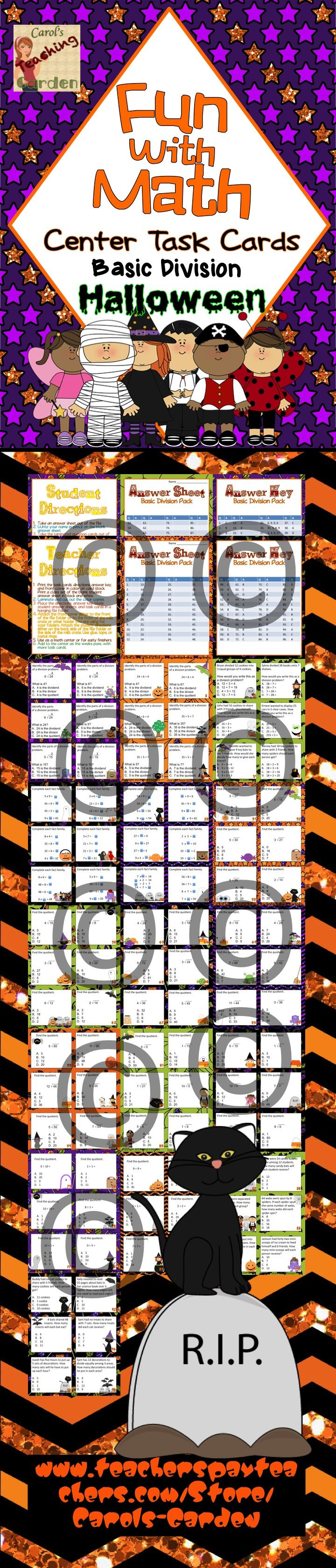 Math center task cards review Common Core Standards for basic division: Differentiate your instruction with these fun Halloween-themed task cards. 96 basic division math task cards for your math center rotations are included with this pack. $
