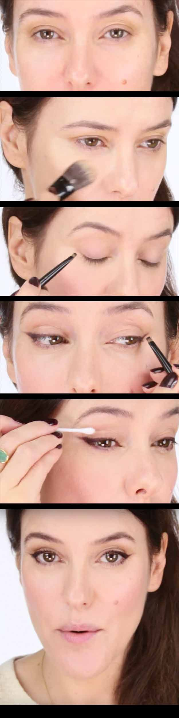25 Must Know Eyeliner Hacks -Easy Effortless Winged Liner Anyone Can Achieve -Winged Looks and Easy Makeup Tricks and Guides for Liquid Pencil and Gel Styles. Step by Step Tutorials with Pictures using Tape or a Spoon thegoddess.com/eyeliner-hacks