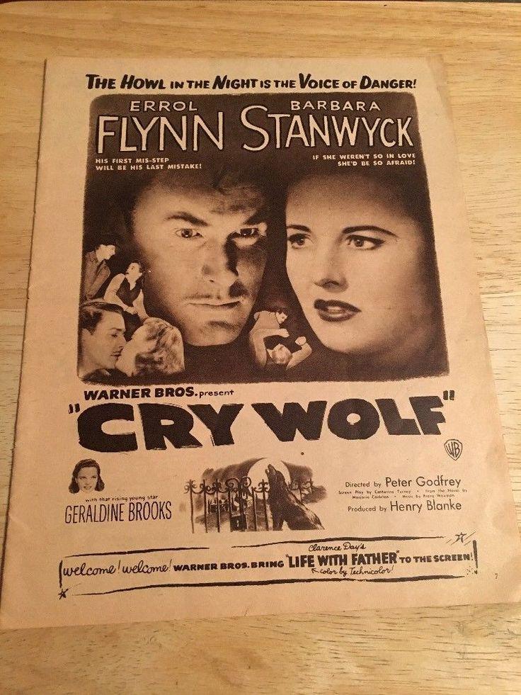 Vintage 1947 CRY WOLF Movie Ad - Errol Flynn, Barbara Stanwyck, Geraldine Brooks
