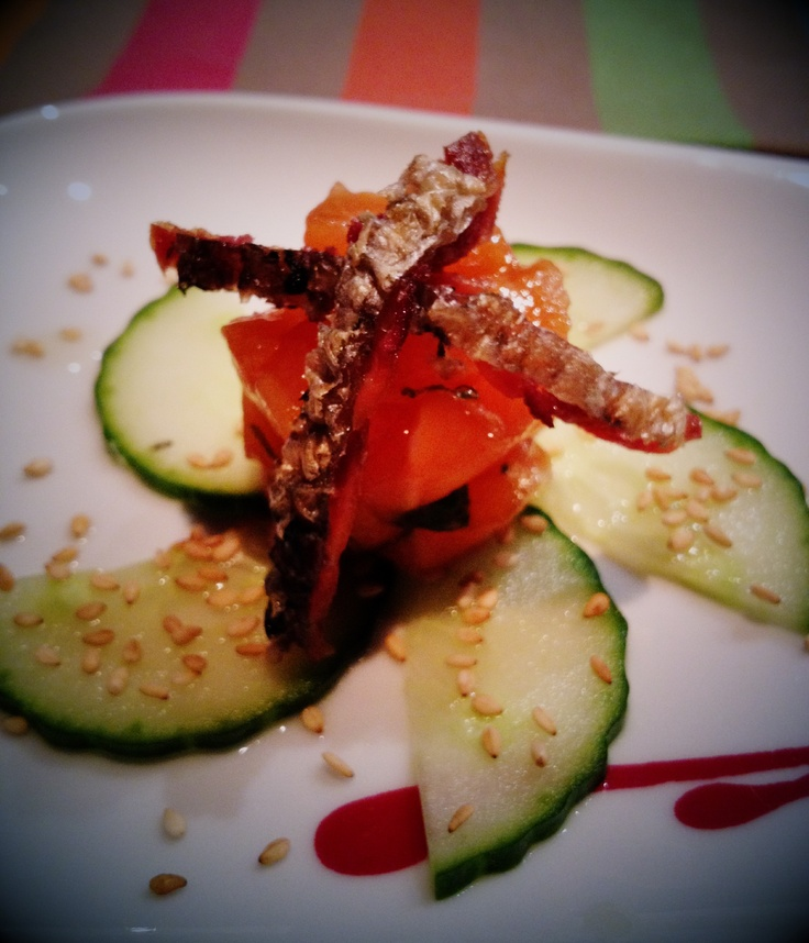 salmon tartar: Noh at Gainey Ranch Scottsdale. omakase style sushi resto