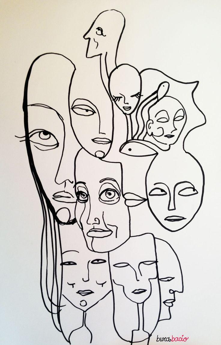 Ho avuto un momento da uno, nessuno e centomila. Un pomeriggio ho preso a disegnare le tante persone che albergano nella stessa personache poi sono la visualizzazione dell'antica domanda:&#…