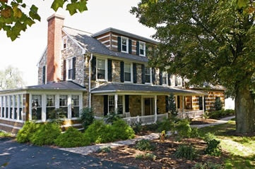 colonial house, stone