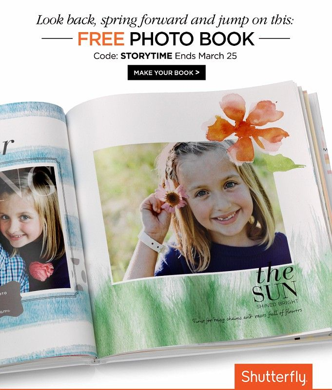 Enjoy a free 8x8 photo book or $29.99 credit towards a larger photo book. Use code: STORYTIME. Offer ends March 25. Taxes, shipping and handling will apply.