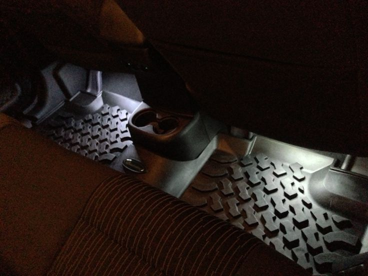 LED floor lights for your Jeep JK. Jeeps are awesome but lack some of the simple necessities of regular cars and SUVs. $13 at the auto parts store for 6in LED strips and you have foot well lighting for your Jeep. All you need to to is stick the self adhesive lights to the bare metal under the dash and under the seats in back...then tie them all into your dome lights and your done. Takes less than an hour...run all the wiring under you carpet, moulding and roll bar pads and it looks OEM…