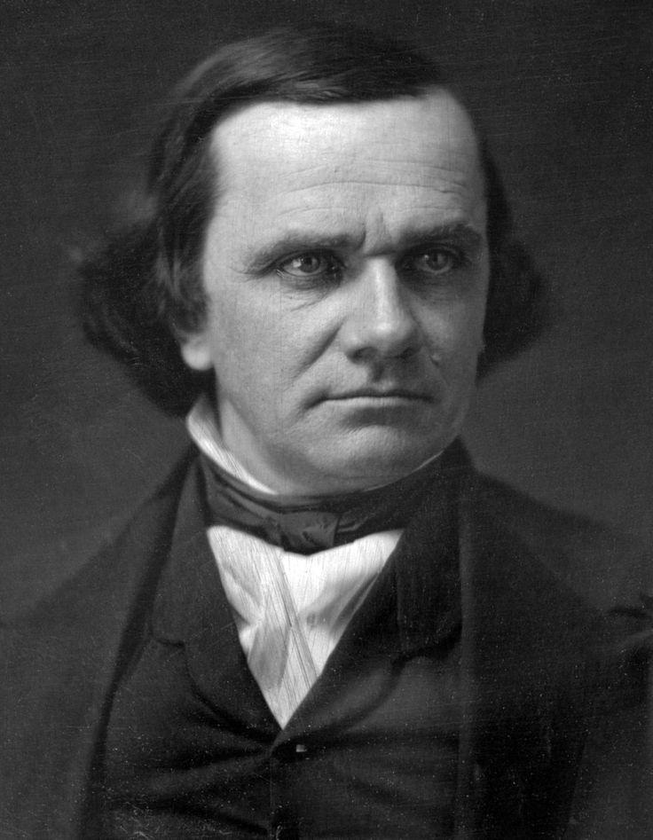 "Birthday April 23, of the ""Little Giant"" of 1850s American politics, #StephenDouglas, born in Brandon, VT (1813-1861). Rival of #AbrahamLincoln."