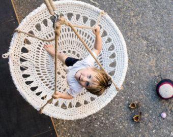 Mandala-häkeln-Swing Handgemachte Recycling weiß Crochet Chair Shabby Chic Home Decor Möbel für Kinder (Nr. 09.)
