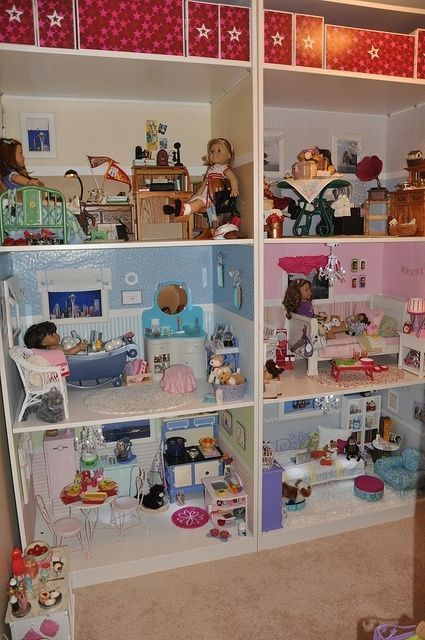 "American Girl Dollhouse | 2 IKEA PAX wardrobe units making in a total of 78 1/2"" wide x 22 7/8"" deep and 93 1/8"" tall.  Each room is 38"" wide x 22 7/8"" deep by ann"