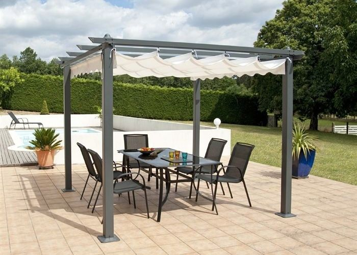 pergola alu 3x3m tonnelle avec toit retractable. Black Bedroom Furniture Sets. Home Design Ideas