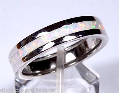 White Fire Opal & 925 Sterling Silver Eternity Band Men's Or Woman's Ring 5-13