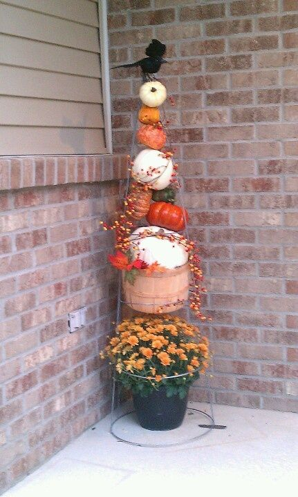 tomato cage crafts | One tomato cage, fall flowers, craft store finds, ready for ... | DIY