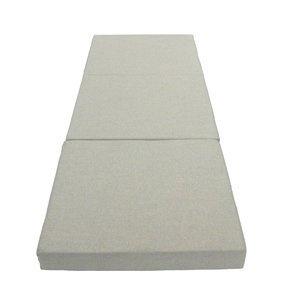 Colchón plegable para invitados, se pliega con una cinta Velcro. Puede almacenarse en el cajón de lino talla L.Cama: 67 x 189 x 9 cmPlegado: 67 x 63 x 27cmPeso: 3kg.