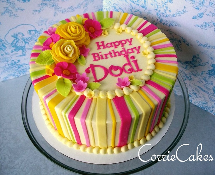 """stripes and floral birthday - 8"""" round iced i BC with MMF stripes and blossoms w/bc roses"""