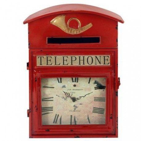 Original reloj retro en forma de buzón y con una segunda utilidad de guardallaves. ¡Marca las horas con la mejor decoración para tu hogar! Doble utilidad.