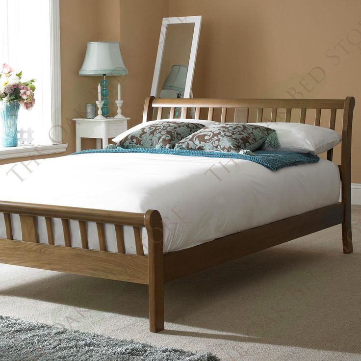 virginia dark solid oak bed frame 4ft6 double - Oak Bed Frame