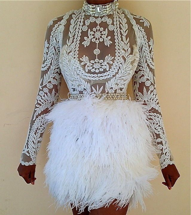 UNIQUE SHEER FOREVER LACE WEDDING WHITE OSTRICH FEATHER SKIRT DRESS SZ 0-20 #Handmade #BallGown #Cocktail