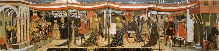 Abitudini e abiti sfarzosi di un matrimonio fiorentino a metà del 1400  Cassone Adimari, Giovanni di Ser Giovanni ( Lo Scheggia )