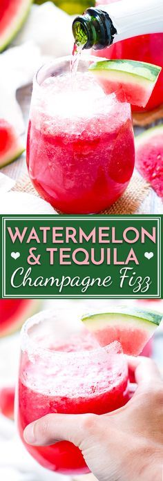 Watermelon Tequila Fizz   Tequila, Champagne + Watermelon Cocktail   You only need three ingredients and five minutes to make the most delicious tequila and watermelon cocktail you've ever had!  You can also multiply the recipe to make a punch for the whole summer party to enjoy.