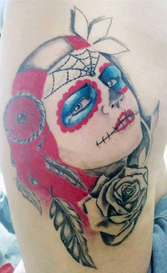 #Catarina #Roses #Red #Cubo #Tattoo