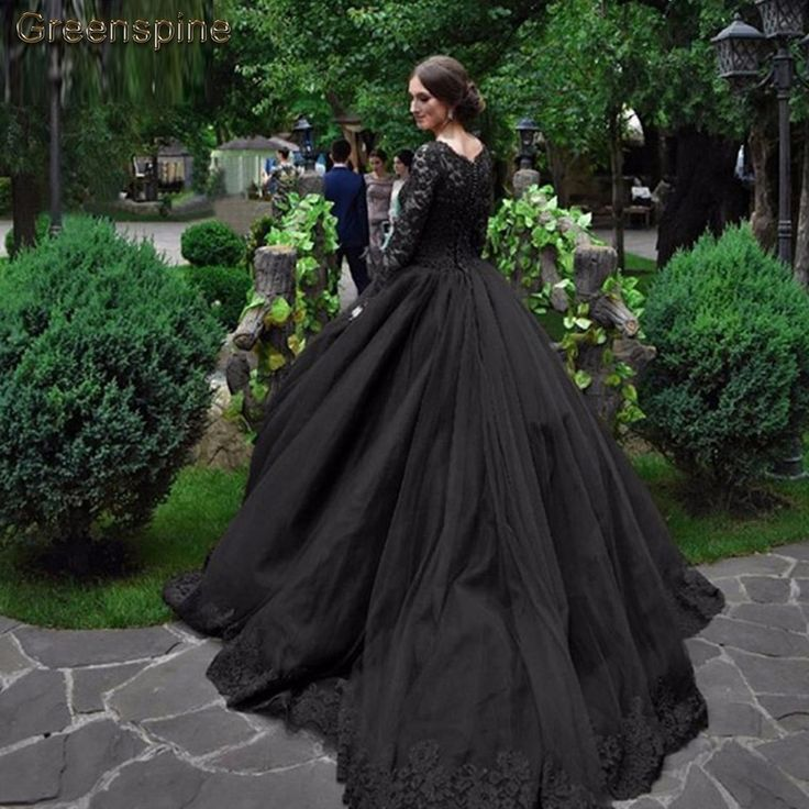 Wedding Gown Black Straight - us $225.39 2% off|greenspine vintage black wedding dress long sleeves  vestido de novia 2019 puffy tulle wedding gown lace appliqued bridal  dresses-in