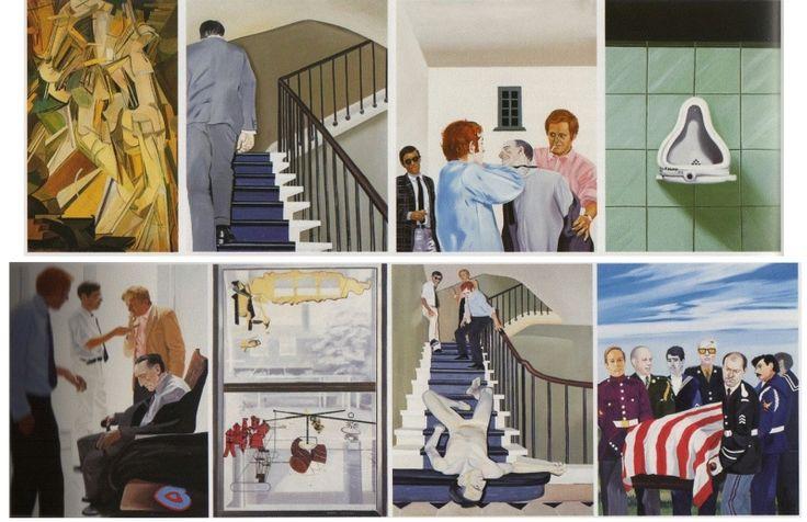 """Gilles Aillaud, Eduardo Arroyo, Antonio Recalcadi, """"Vivre et laisser mourir"""" ou """"La fin tragique de Marcel Duchamp"""", 1965."""