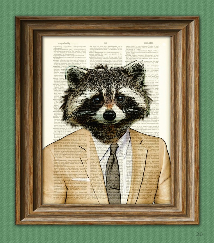 Raccoon Art Print Well-Suited RACCOON illustration beautifully upcycled dictionary page book art print. $7.99, via Etsy.