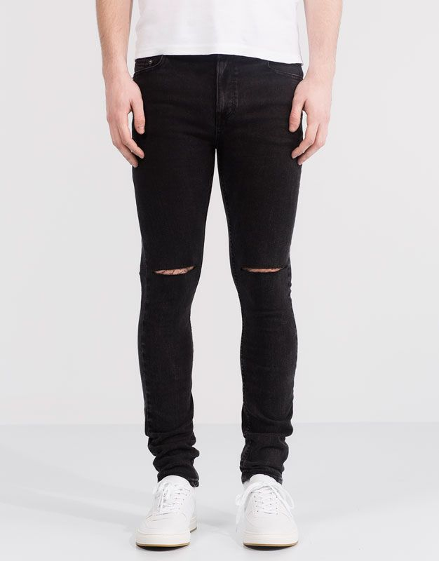 pull bear hombre jeans jeans super skinny fit acid wash negro 05684525 v2016 junio. Black Bedroom Furniture Sets. Home Design Ideas