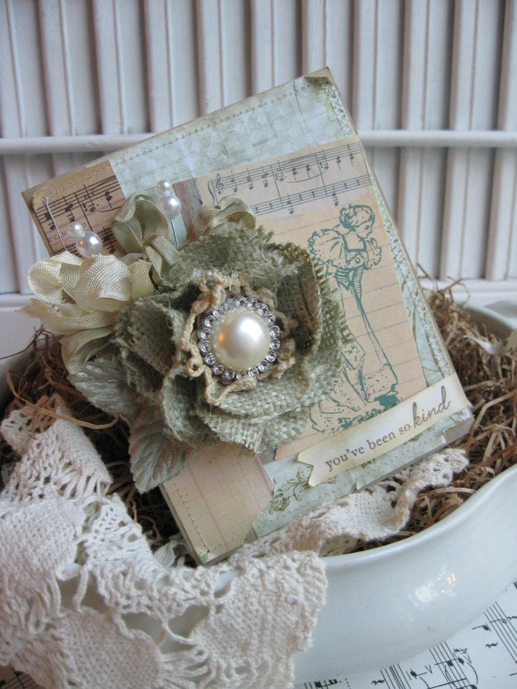 shabby chic vintage lady BURLAP handmade flower YOU have been so kind stitched card