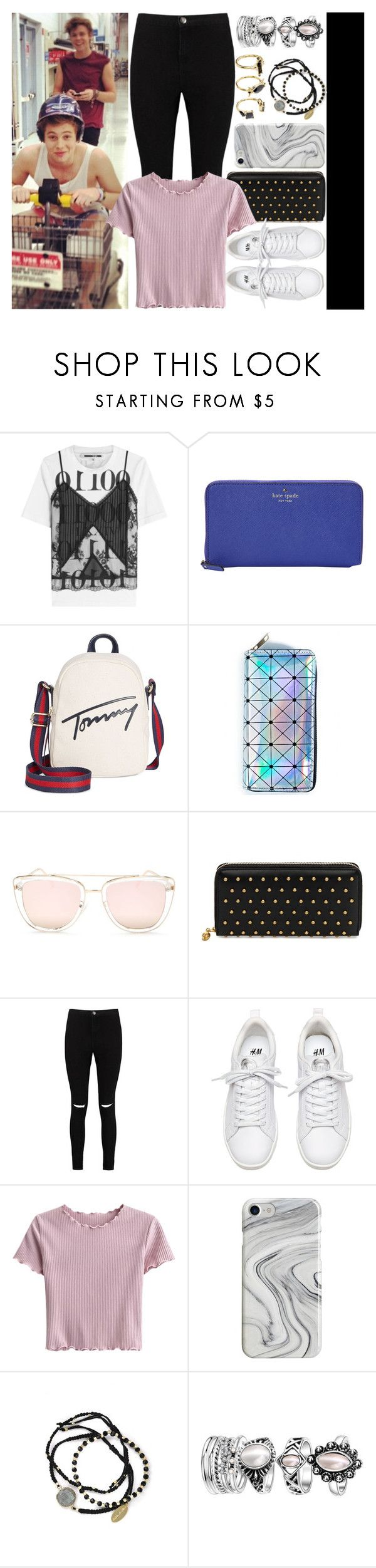 """""""With Luke Hemmings And Ashton Irwin"""" by angelbrubisc ❤ liked on Polyvore featuring McQ by Alexander McQueen, Kate Spade, Tommy Hilfiger, Quay, Alexander McQueen, Boohoo, Recover, Feather & Stone and Noir Jewelry"""